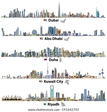 abstract vector illustrations of Dubai, Abu Dhabi, Doha, Riyadh and Kuwait city skylines with flags and maps of United Arab Emirates, Qatar, Kuwait and Saudi Arabia
