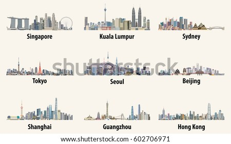 abstract vector illustrations of Singapore, Kuala Lumpur, Sydney, Tokyo, Seoul, Beijing, Shanghai, Guangzhou and Hong Kong skylines
