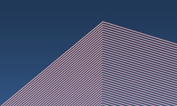 Abstract vector isometric building box from lines shape pattern with modern color dark gradient background, minimal trendy architecture concept.