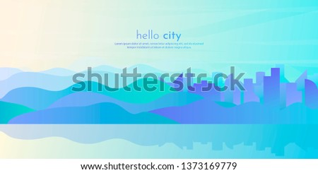 Abstract vector landscape. City in a flat futuristic style