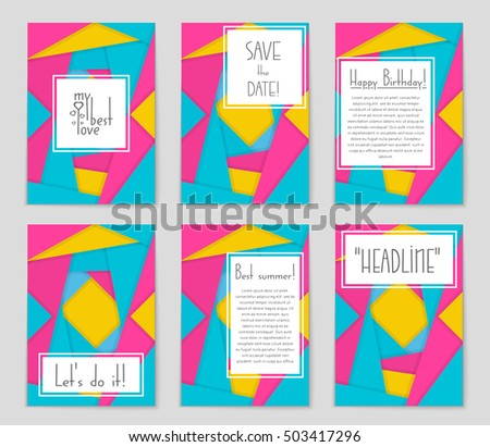 Abstract vector layout background set. For art template design, list, page, mockup brochure theme style, banner, idea, cover, booklet, print, flyer, book, blank, card, ad, sign, sheet, flyer, a4. #503417296