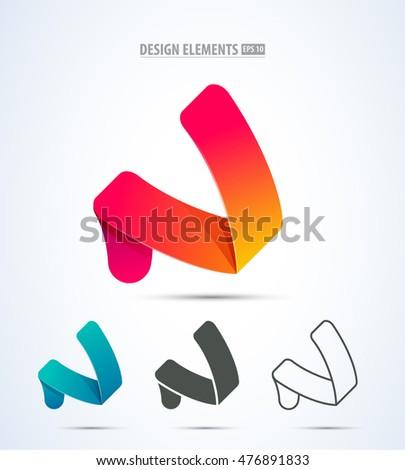 Abstract vector letter n logo design elements set Stock foto ©
