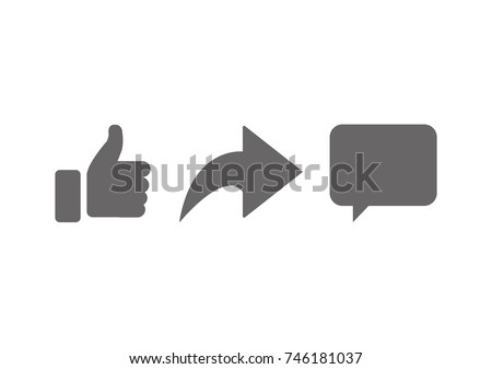 Abstract vector like comment share icon set. Social network signs.