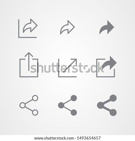 Abstract vector line and flat icons design of share symbols. Social network signs.