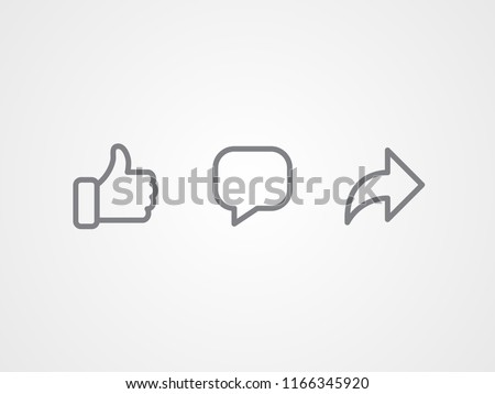 Abstract vector line icons design. Like, comment and share icon set. Social network signs. Stockfoto ©