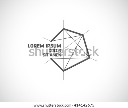 Abstract Vector Logo Design Template. Creative Concept Emblem from Triangles. Polygonal Monochrome Logotype