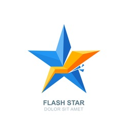 Abstract vector logo, emblem with blue crashed star and lightning. Flat style isolated icon. Creative design elements. Concept for business leadership, creativity, energy theme.