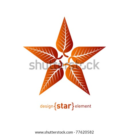 Abstract vector logo, star with red autumn leafs. Corporate design element