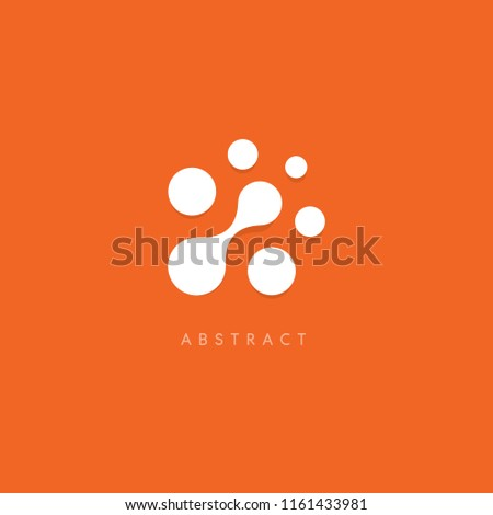 Abstract vector logo. White dots on orange background. Unusual circles logotype template. Computer chip icon.