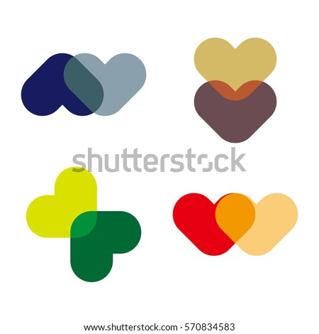 Abstract vector love heart logo template. 'A','M','W','V' letters icon set. Stock fotó ©
