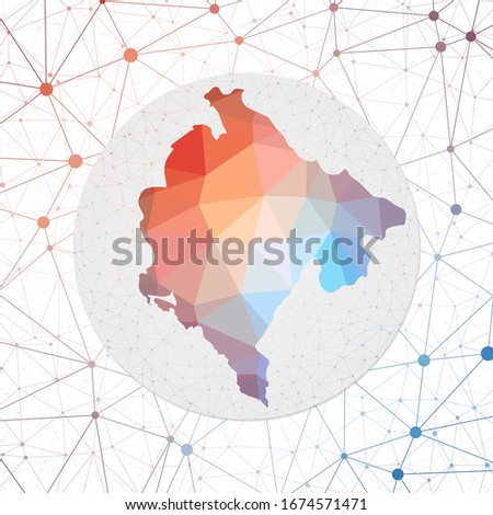 Abstract vector map of Montenegro. Technology in the country geometric style poster. Polygonal Montenegro map on 3d triangular mesh backgound. EPS10 Vector.