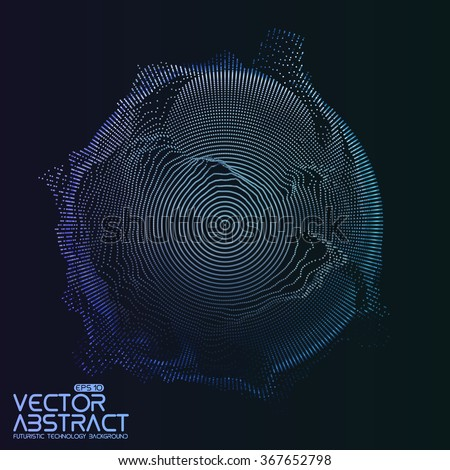Abstract vector mesh on dark background. Futuristic style card. Elegant background for business presentations.  Corrupted point sphere.  Chaos aesthetics.