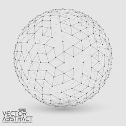 Abstract vector mesh sphere constructed with connected points. Futuristic technology style. Elegant background for business presentations.Eps10