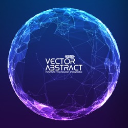 Abstract vector mesh spheres. Futuristic technology style. Elegant background for business presentations. Flying debris. eps10