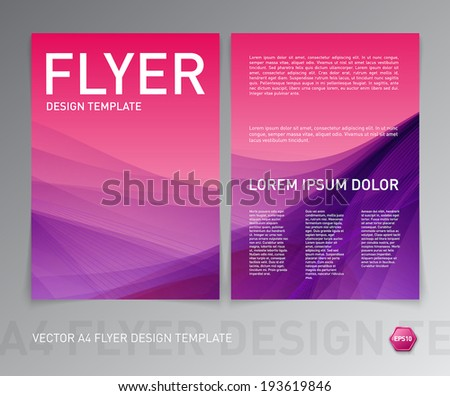 Abstract vector modern flyer / brochure design template. Smooth pink and purple background.