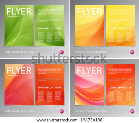 Abstract vector modern flyer / brochure design templates collection. Smooth colorful backgrounds.