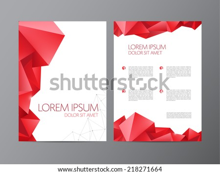 Abstract vector modern flyer / brochure design templates with red geometric triangular background