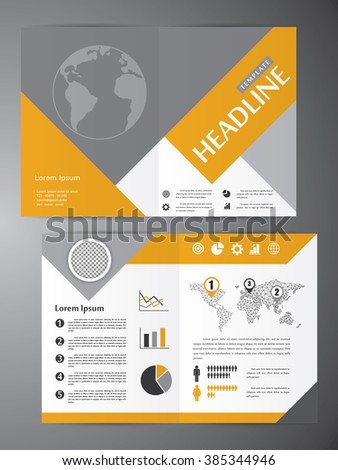 Abstract vector modern flyer half fold brochure, booklet, annual report, design templates with white background in size a4. #385344946
