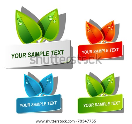 Abstract vector natural banners with leafs