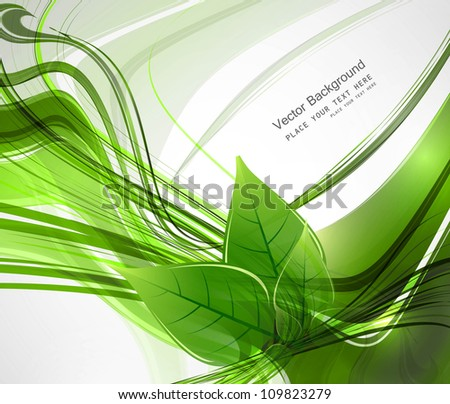 abstract Vector natural eco green lives line wave  illustration