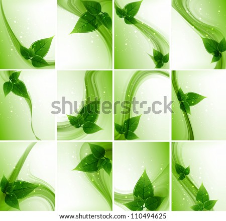 abstract Vector Natural eco green lives wave collection design