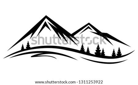 Abstract vector nature or outdoor mountain range silhouette. Mountains and travel icons for tourism organizations or outdoor events and mountains leisure. Vector illustration EPS.8 EPS.10