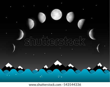 abstract vector night landscape