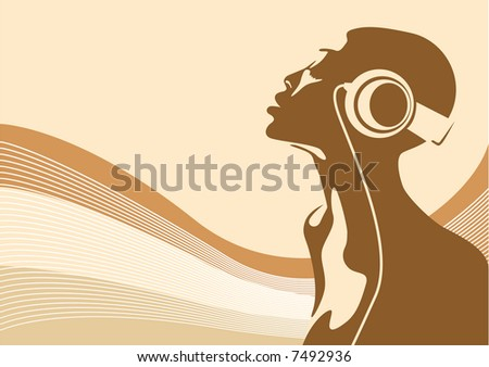 Stock Photo Abstract vector of a woman listening to music