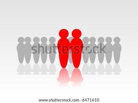 Abstract vector of two people standing out from the crowd