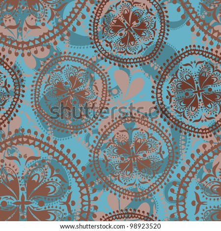 Abstract vector oriental seamless pattern with paisley elements in turquoise and chocolate tones