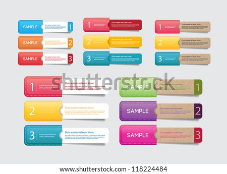 Abstract vector paper tags with colorful pockets - one two three steps
