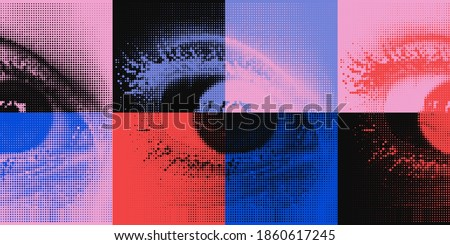 Abstract vector pattern with eyes transition effect. Geometrical composition, useful for web design, business card, invitation, poster, textile print, background.