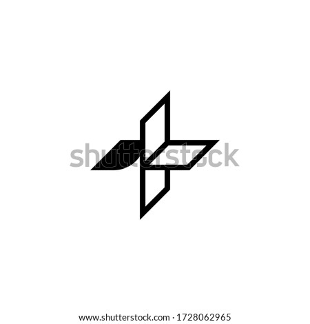 Abstract vector plus sign logo, linear style