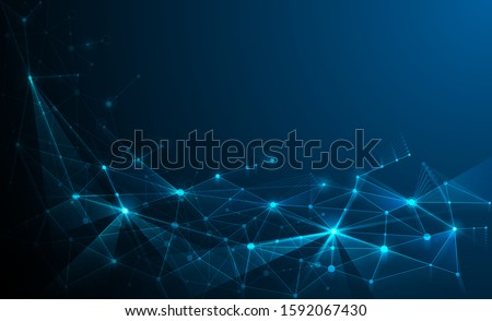 Abstract vector poligonal dark blue background with triangle shape grid. Science technology, social network, web connect concept. Futuristic design