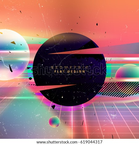 Abstract vector poster with liquid bubbles and memphis elements. 80s party retro placard style.