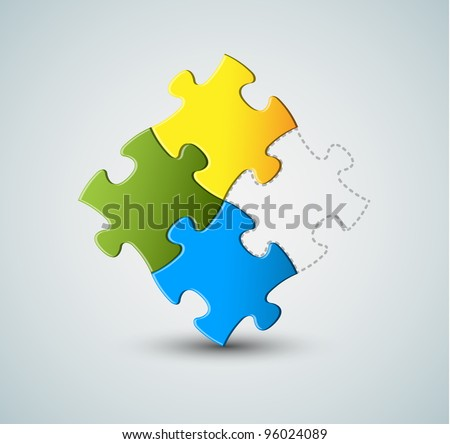 Abstract vector puzzle / solution background - missing piece