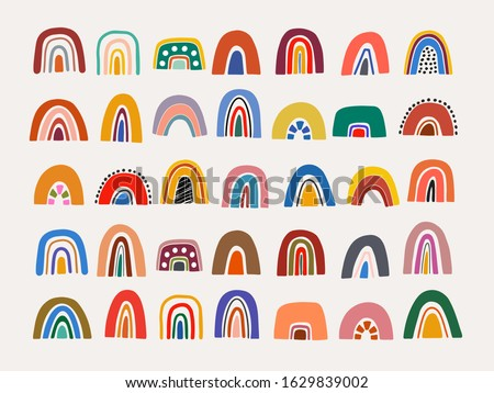 Abstract vector rainbow set. Hand drawn rainbows in minimalist scandinavian style. Modern baby, kid illustrations. Rainbow in different shapes. Colorful contemporary art