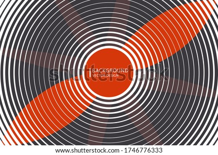 Abstract vector red propeller, fan, outgoing ripple circles. Illustration background.