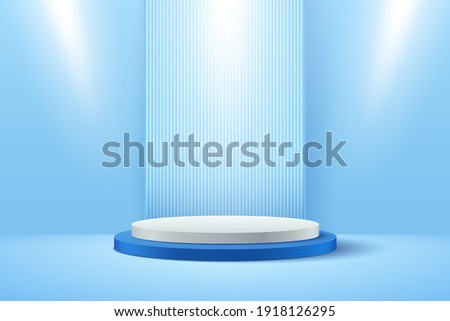 Abstract vector rendering 3d shape for advertising products display with copy space. Modern white and blue round podium with light blue empty room background. Minimal pastel studio room concept.