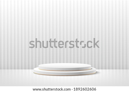 Abstract vector rendering 3d shape for placing the product with copy space. Modern white and golden round podium with empty room and curtain texture background. Vector illustration