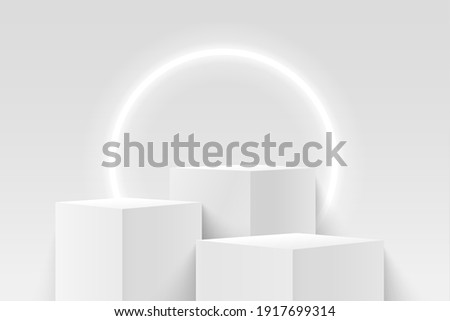 Abstract vector rendering 3d shape for products display presentation. Modern white and grey cube pedestal podium with empty room and circular neon background. Minimal wall scene.