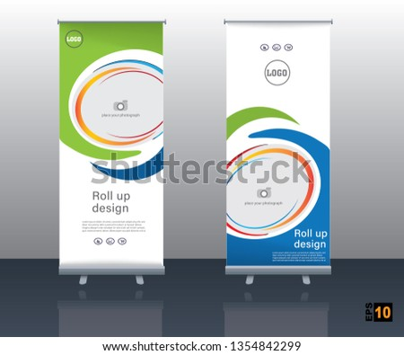 abstract vector roll up banner design with body and colorful shapes #1354842299