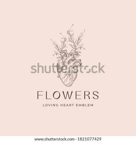 Abstract Vector Romantic Sign, Symbol or Logo Template. Anatomical Heart Sketch Illustration with Flowers Branches and Classy Typography. Premium Quality Holiday Decoration Card. Isolated. Stockfoto ©
