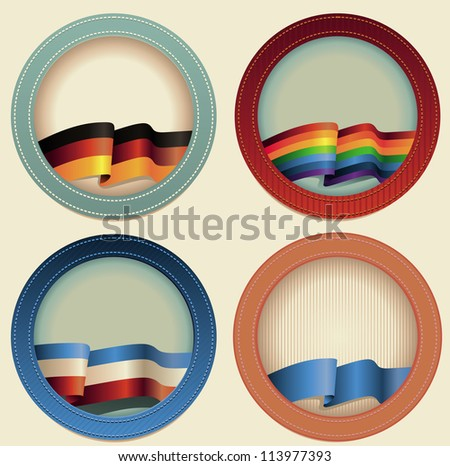 Abstract vector round frames with flags - with copy space for text