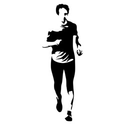 Abstract vector runner, front view. Running athlete