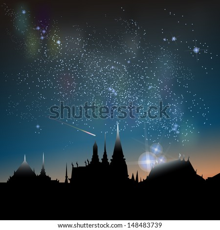 Abstract vector science image of the Milky Way with the Constellation over Bangkok City icon.