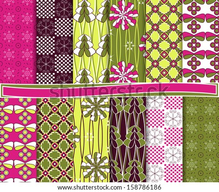 Abstract vector set of Christmas paper for scrapbook #158786186