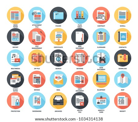 Abstract vector set of colorful flat files and documents icons with long shadow. Concepts and design elements for mobile and web applications.