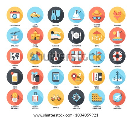 Abstract vector set of colorful flat leisure and tourism icons with long shadow. Concepts and design elements for mobile and web applications.