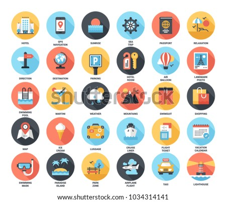 Abstract vector set of colorful flat travel and vacation icons with long shadow. Concepts and design elements for mobile and web applications.